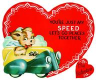 Puppy Driving Car Valentine - Greeting Card (6 Cards individually bagged w/ Envelopes & Header) (Valentine's Day)