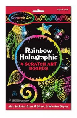 Rainbow Holographic: 4 Scratch Art Boards [With 4 Scratch Art Boards, Wooden Stylus, Instructions and Stencils]