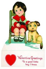 Boy and Dog Valentine - Greeting Card (6 Cards individually bagged w/ Envelopes & Header) (Valentine's Day)