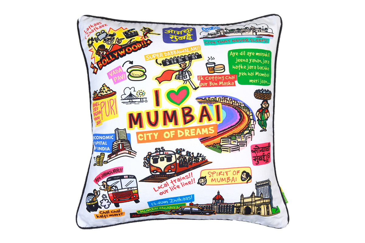 Eco Corner White Mumbai Cushion Cover