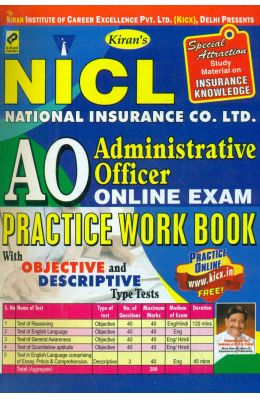 Nicl Ao Aministrative Officer Online Exam Practice Work Book : Code Kp 1257