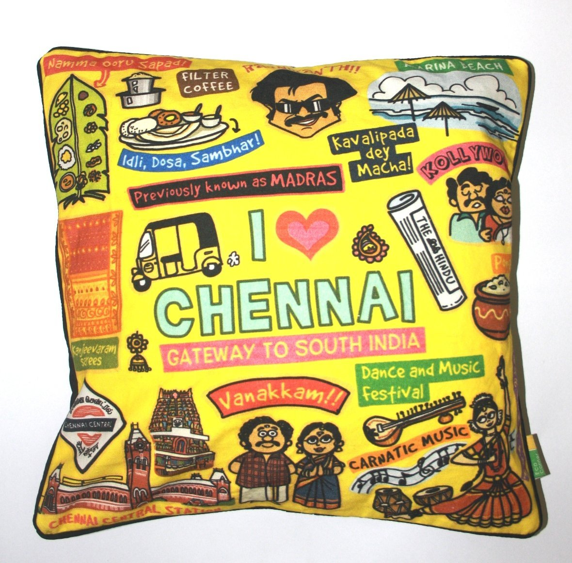 Eco Corner Chennai Coloured Cushion Cover