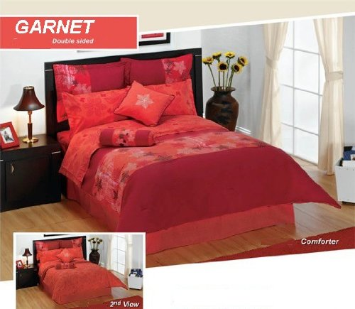 Garnet Comforter Set - 6 Piece Set, Embroidered and Beautifully Designed (Full)