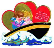 Boy and Girl In Boat Valentine - Greeting Card (6 Cards individually bagged w/ Envelopes & Header) (Valentine's Day)