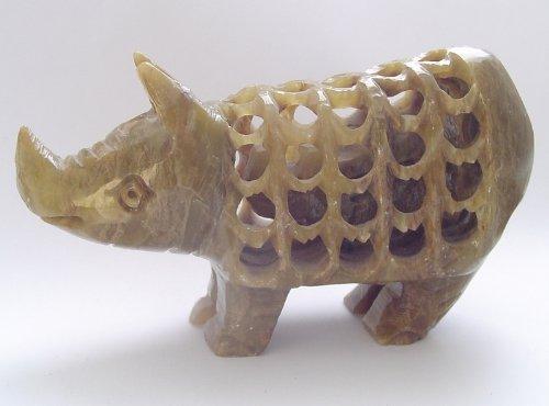 Hand Carved Stone Inside Tummy Baby Figurine Rhinoceros