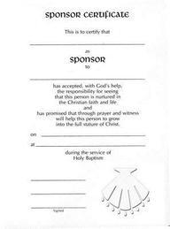 Embossed Sponsor/Godparent Certificate# 8166[ Pack of 12 W/Envelope] : # 8166