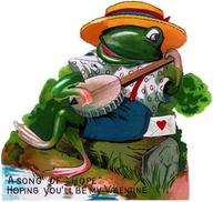 Frog Playing Banjo Valentine - Greeting Card (6 Cards individually bagged w/ Envelopes & Header) (Valentine's Day)