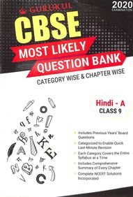 Hindi A Class 9 Most Likely Question Bank Category Wise & Chapter Wise 2020 Examination : Cbse