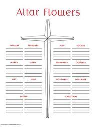 Altar Flower Chart# 3