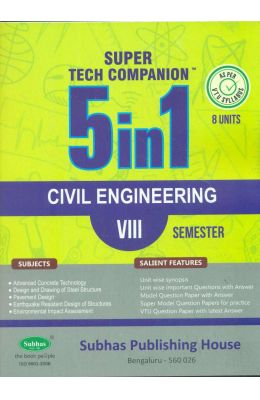 Civil Engineering 8 Sem : Super Tech Companion 5 In 1 Vtu