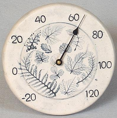 Kiln Fired Real Leaf Pottery Thermometer