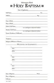 Baptismal Information Form[ Pad of 50] : # 35