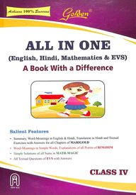 Buy Golden All In One English Hindi Mathematics & Evs Class 4 : Cce
