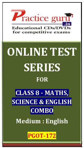 Online Test Series for Class 8-Maths, Science and English Combo
