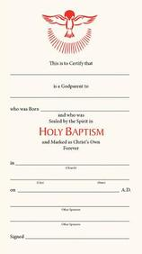 Godparents Certificate (Package of 25): #500