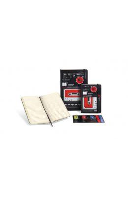 Audio Cassette Ruled Pocket Notebook: Black/Red