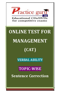 Online Test for Management: CAT: Verbal Ability: Topic-Wise: Sentence Correction