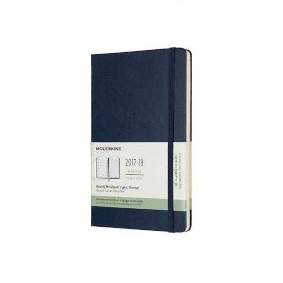 Moleskine Diary- Weekly 18 Month July17 - Dec18 Hard Cover-Large-Sapphire Blue