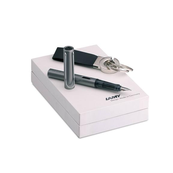 Al-Star Graphite Fountain Pen and Keyring Gift Set - Broad