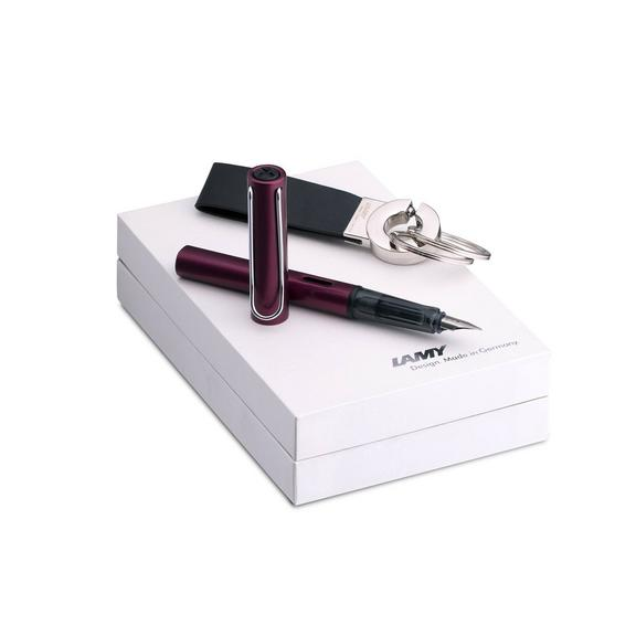 Al-Star Black Purple Fountain Pen and Keyring Gift Set - Broad