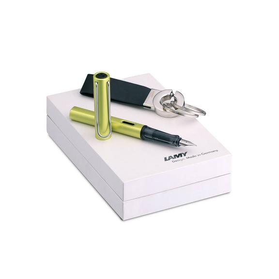 Al-Star Charged Green Fountain Pen and Keyring Gift Set - Extra Fine