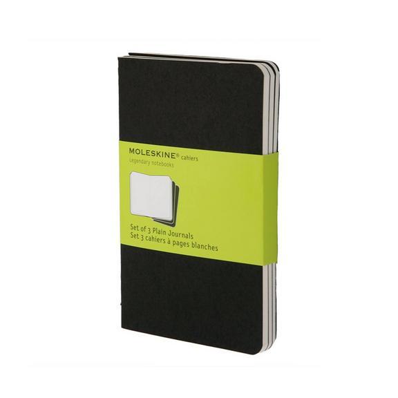 Set of 3 Plain Cahier Journals- Black - Pocket