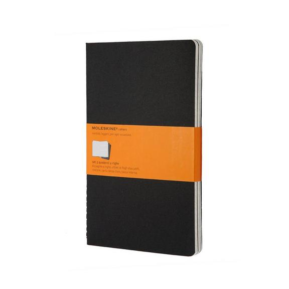 Set of 3 Ruled Cahier Journals- Black -Large