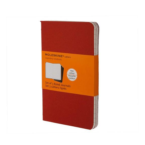 Set of 3 Ruled Cahier Journals - Cranberry Red - Large