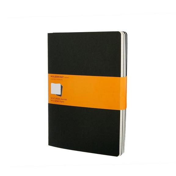 Set of 3 Ruled Cahier Journals - Black - Extra Large