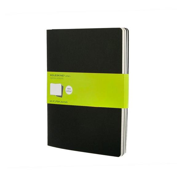 Set of 3 Plain Cahier Journals - Black - Extra Large