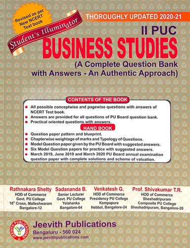 Business Studies 2 Nd  Puc : Students Illuminator A Complete Question Bank With Answers An Authentic