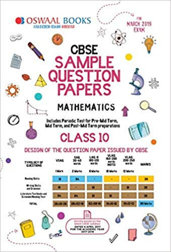 Mathematics Class10 Sample Question Papers For March 2019 Examination : Cbse